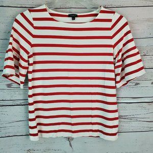 Talbots Red White Striped Bell Sleeve Top M